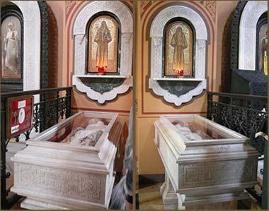 Мощи Елизаветы и Варвары в монастыре Марии Магдалины